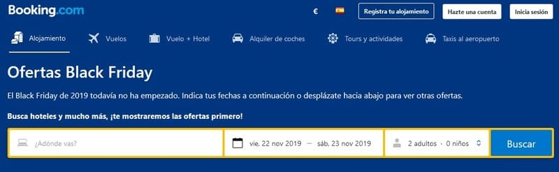 Booking Black Friday ofertas hoteles 2019